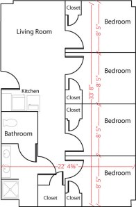 An example West Hall quad floor plan.