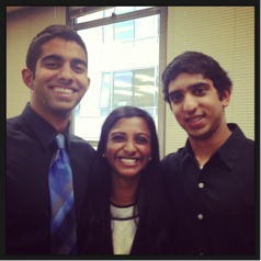 From the right: Pavan Jagannathan (BME '14), Saumita Rajeevan (BME '14), & Yash Jain (BME '14)